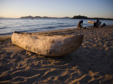 Malawi  Monkey Bay; an Old Dug-Out Canoe Pulled Up on to the Beach of Lake Malawi
