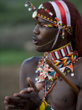 Kenya  Laikipia  Ol Malo; a Samburu Warrior Sings and Claps During a Dance