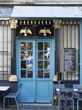 Blue Doors of Cafe  Marais District  Paris  France