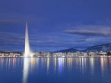 Switzerland  Geneva  Lake Geneva / Lac Leman and Jet D'Eau Fountain