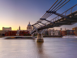 Uk  London  St; Paul's Cathedral and Millennium Bridge over River Thames