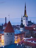 Estonia  Tallinn  Troompea Area  Old Town View from Troopea  Dusk