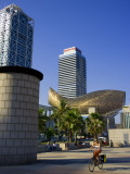 Barceloneta Beach and Port Olimpic with Frank Gehry Sculpture  Barcelona  Spain