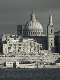 Malta  Valletta  Skyline with St; Paul's Anglican Cathedral and Carmelite Church from Sliema