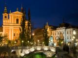 Evening View of Franciscan Church  Presernov Trg Square and Triple Bidge  Ljubljana  Slovenia