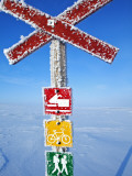 Norway  Finnmark Region; a Sign Post in the Arctic Circle