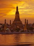 Thailand  Bangkok  Wat Arun  Temple of the Dawn and Chao Phraya River Illuminated at Sunset