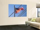 Usa  New York  Manhattan  Brooklyn Brisge and Stars and Stripes Flag