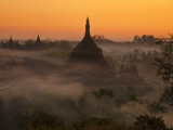 Myanmar  Burma  Mrauk U; Mist and Smoke from Village Cooking Fires Swirl around Ratanabon Paya