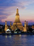 Thailand  Bangkok  Wat Arun  Temple of the Dawn and Chao Phraya River Illuminated at Sunset