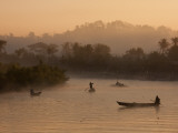 Myanmar  Burma  Mrauk U; Early Morning Mist Rising on the Aungdat Creek