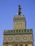 A Minaret with the Early Moon in the Background; Old Medina in Fes  Morocco