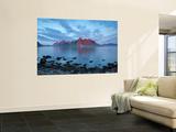 Flakstad Mountain Range Illuminated by Midnight Sun  Lofoten Islands  Norway