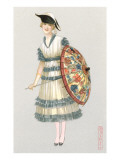 Woman with Parasol  Fashion Illustration