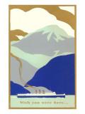 Art Deco Ocean Liner  Wish You Were Here