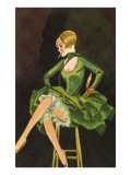 Smoking Flapper in Green Cocktail Dress
