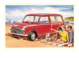 Family Beach Outing with Car