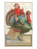 Jolly Thanksgiving  Boy Riding Turkey