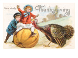 Greetings  Children with Turkey and Pumpkin