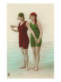 Two Ladies in Green and Red Bathing Suits