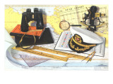Captain&#39;s Hat  Binoculars  Sextant