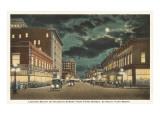 Moon over Houston Street  Fort Worth  Texas