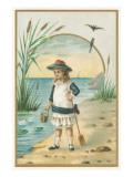 Little Victorian Girl at Beach