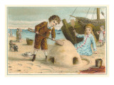 Victorian Children with Sand Castle