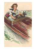 Girl in Motorboat with Terrier