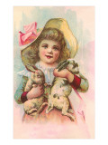 Victorian Girl with Rabbits