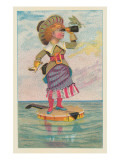 Girl with Binoculars on Floating Banjo