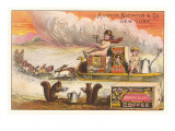 Victorian Coffee Advertisement with Children on Sled