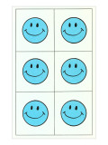 Six Blue Happy Faces
