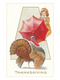 Girl Fending Off Turkey with Umbrella