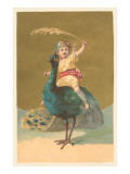 Little Girl Riding Peacock