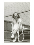 Woman Tennis Player Adjusting Stocking