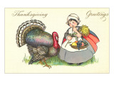 Little Pilgrim Girl with Turkey