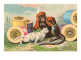 Monkey and Cat with Spools of Thread
