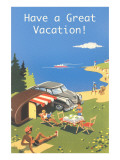 Family Camping by Ocean  Have a Great Vacation