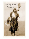 Howdy from Texas  Waving Cowgirl