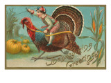 Greetings  Jockey Boy Riding Turkey