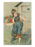 Lady Emerging from Bathing Machine  Illustration