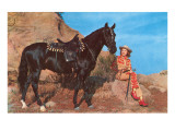 Cowgirl with Black Horse