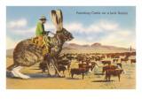Man Herding Cattle from Giant Jack Rabbit