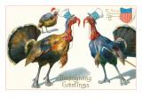 Thanksgiving Greetings  Turkeys in Hats