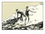 Woodcut of Two Surfers