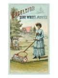 Glum Victorian Lady with Lawnmower
