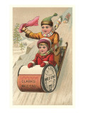 Children on Spool Sled