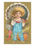 Thanksgiving Greetings  Farmer Boy with Turkey