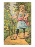 Victorian Girl with Penny Farthing Bicycle